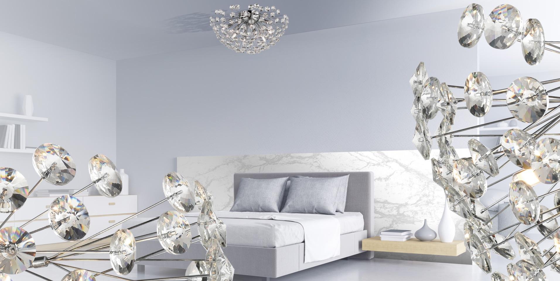Allium Large Crystal Ceiling Flush Light