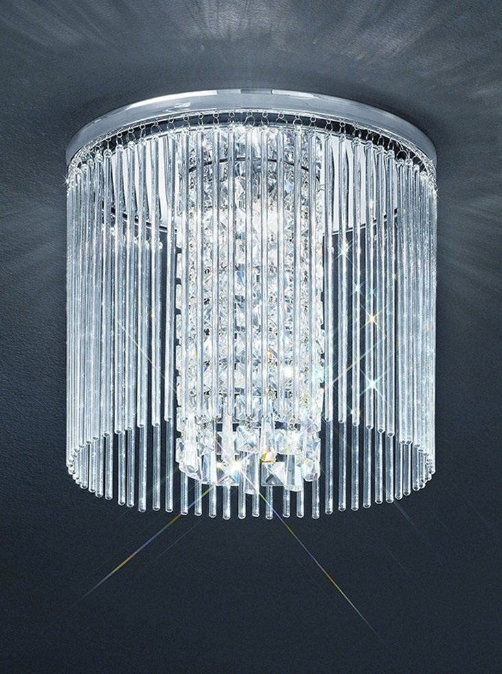 350mm Flush IP44 Crystal